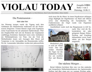Violau Today - 2011 - Online bereits in Farbe
